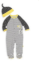 Offspring Babys Two-Piece Striped Footie and Hat Set