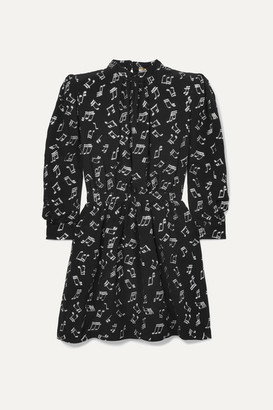 Saint Laurent Metallic Printed Silk-blend Chiffon Mini Dress - Black