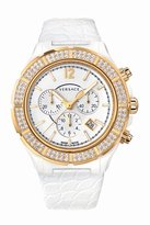 Versace Women's 28CCP11D001 S001 DV ONE White Ceramic Case Leather Band Chronograph Diamond Watch