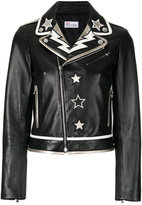 RED Valentino patched stars biker jacket - women - Cotton/Lamb Skin/Polyester/Metallic Fibre - 42