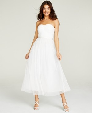 Betsey Johnson Ruched-Top Embellished-Waist Gown