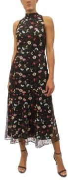 Sam Edelman High-Neck Embroidered Maxi Dress