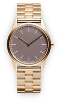Uniform Wares C33 Women's two-hand watch in PVD satin gold with black textured calf leather strap