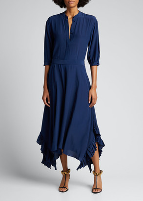 Stella McCartney 3/4-Sleeve Flowy Belted Silk Maxi Shirtdress
