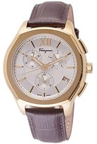 Salvatore Ferragamo Men's 'LUNGARNO CHRONO' Quartz Stainless Steel and Leather Casual Watch, Color:Brown (Model: FLF960015)