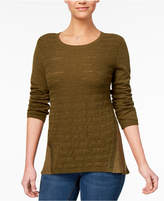 Style&Co. Style & Co High-Low Contrast Sweater, Created for Macy's