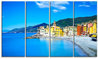 "Church's Design Art Usa ""Camogli on Sea & Beach View"" Metal Wall Art, 4 Panels, 48""x28"""