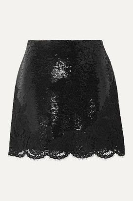 Philosophy di Lorenzo Serafini Lace-trimmed Sequined Chiffon Mini Skirt - Black