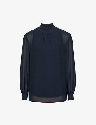 Reiss Sandrine semi-sheer crepe blouse