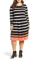 Eliza J Stripe A-Line Knit Dress (Plus Size)
