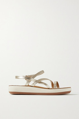 Ancient Greek Sandals Dimitra Metallic Leather Slingback Sandals - Platinum