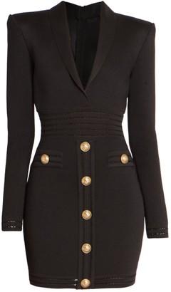 Balmain Collared Button Knit Short Dress