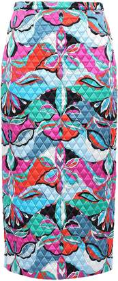 Emilio Pucci Quilted Printed Silk-blend Satin Midi Pencil Skirt