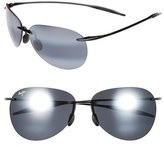 Maui Jim Women's 'Sugar Beach - Polarizedplus2' 62Mm Rimless Sunglasses - Gloss Black/ Neutral Grey