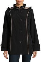 Gallery Contrast-Trim Hooded Raincoat