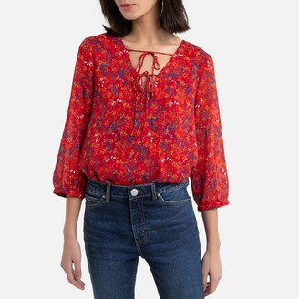 Vila Printed Blouse with 3/4 Length Sleeves