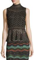 M Missoni Sleeveless Solid Lurex® Openwork Peplum Top, Black