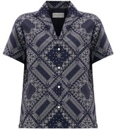 Officine Generale Christelle Bandana-print Cotton Shirt - Womens - Navy