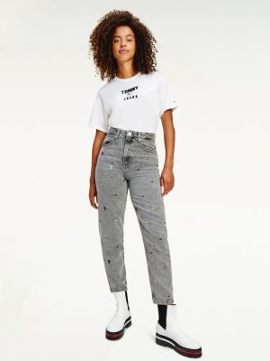 Tommy Hilfiger Mom High Rise Tapered Embroidered Jeans