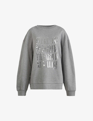 AllSaints Freedom Iona foiled-slogan cotton jumper