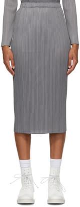 Pleats Please Issey Miyake Grey Basics Mid-Length Skirt