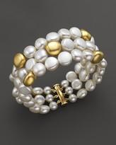 Bloomingdale's Cultured Freshwater Pearl Triple Row Bracelet in 18K Yellow Gold, 10mm