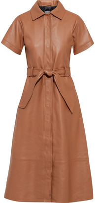 Iris & Ink Alina Belted Leather Midi Shirt Dress
