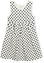 Kate Spade Jillian Sleeveless Fit-And-Flare Polka-Dot Jersey Dress, Black/White, Size 7-14