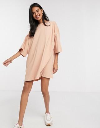 ASOS DESIGN oversized t-shirt dress in beige