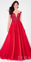 Terani Couture Illusion Rhinestone Applique Gathered Ball Gown