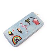 Riah Fashion Flamingo Patch Zipper Wallet