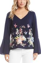 Karen Kane Embroidered Bell Sleeve Top