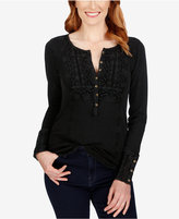 Lucky Brand Crocheted Henley Thermal Top