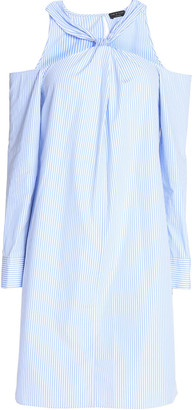 Rag & Bone Collingswood Cold-shoulder Striped Cotton-poplin Mini Dress