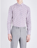 Canali Floral-print modern-fit cotton shirt