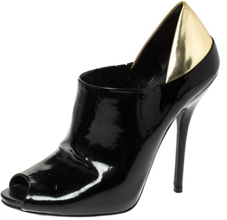Gucci Black/Metallic Gold Patent Leather Peep Toe Booties Size 40