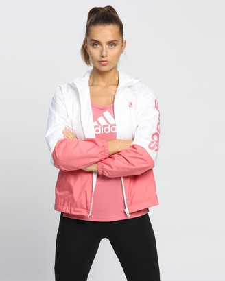 adidas Women's White Jackets - Essentials Oversize Logo Windbreaker - Size XS at The Iconic