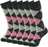 SUTTOS Elite Men's Women's Unisex Fun Pink Black Argyle Plaids Jacquard Pattern Charged Cotton Soft Long Tube Casual Dress Socks,6 Pairs Pack