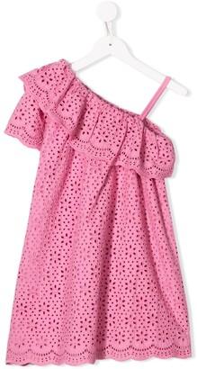 MSGM Kids asymmetric embroidered dress