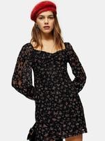 Topshop Petite Floral Lace Gypsy Mini Dress - Black