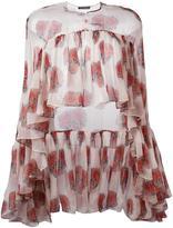 Alexander McQueen poppy print cape blouse - women - Silk - 40