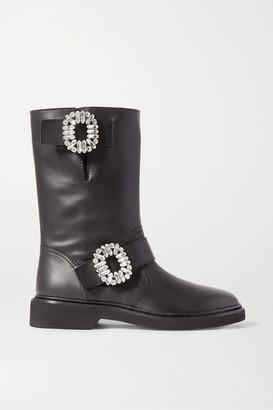 Roger Vivier Viv Crystal-embellished Leather Boots - Black