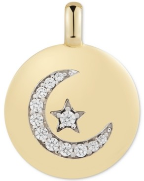 """CHARMBAR Swarovski Zirconia Moon & Star """"Follow your Dreams"""" Reversible Charm Pendant in 14k Gold-Plated Sterling Silver"""