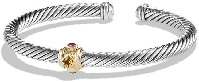 David Yurman Renaissance Bracelet with Citrine, Rhodalite Garnet and 14K Gold