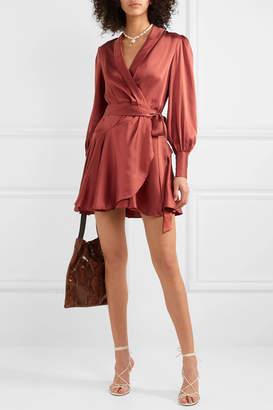 Zimmermann Silk Wrap Mini Dress - Red