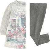 Mayoral Graphic sweatshirt dress and velvet leggings
