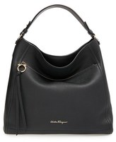 Salvatore Ferragamo Pebbled Leather Hobo - Black