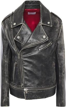 RED Valentino Distressed Leather Biker Jacket