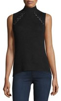 Ramy Brook Lisette Merino Wool Ribbed Chain-Embellished Sweater, Black