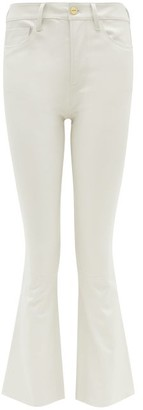 Frame Le Mini Cropped Bootcut Leather Jeans - Womens - White